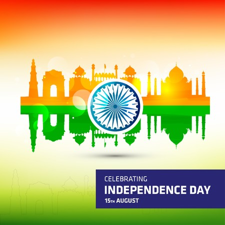 ashok: Creative Indian revolution day typography with Famous Monument indian Flag background