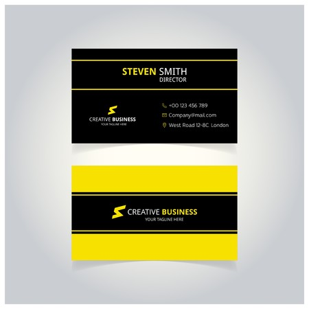 S letter man logo Minimal Corporate Business card with Black and Yellow Color - For web design and application interface, also useful for infographics. Vector illustration.