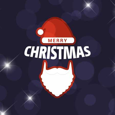 Christmas card with dark background - For web design and application interface, also useful for infographics. Vector illustration.
