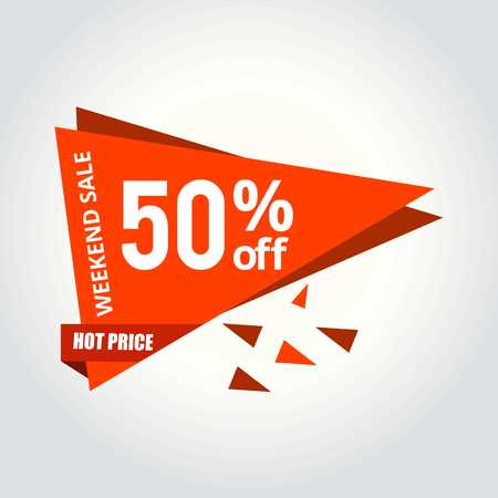Weekend sale tag - For web design and application interface, also useful for infographics. Vector illustration. 일러스트