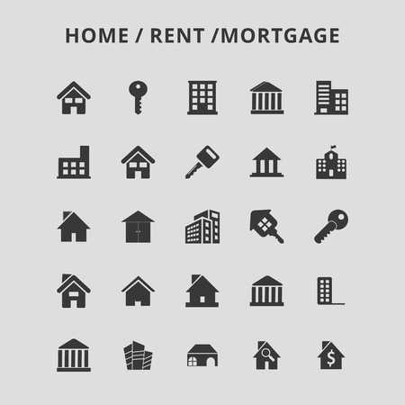 Home Rent Icons - For web design and application interface, also useful for infographics. Vector illustration. Stock Illustratie