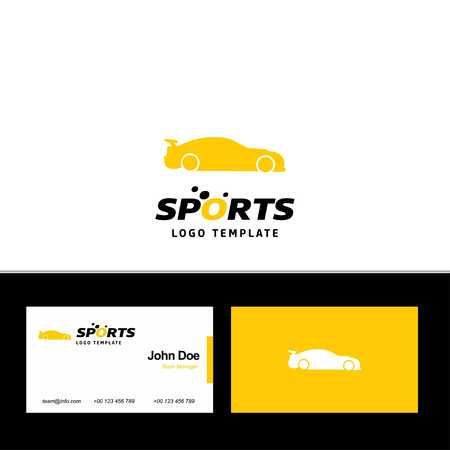 Business card of sports with yellow and white theme with sports logo vector - For web design and application interface, also useful for infographics. Vector illustration.