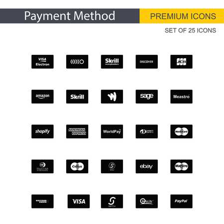 Payment method icons set vector - For web design and application interface, also useful for infographics. Vector illustration.