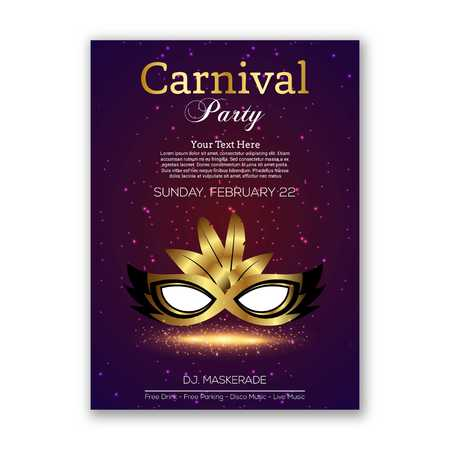 Happy Brazilian Carnival Day. purple carnival mask with black and golden mask and typography with white sample text - For web design and application interface, also useful for infographics. Vector illustration. Illustration