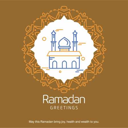 Ramadan Kareem Vector Background. calligraphy greeting card design of happy Ramadan Mubarak, Beautiful Muslim Event Eid Background Design - For web design and application interface, also useful for infographics. Vector illustration.