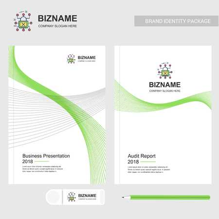 Company brochure with company logo and stylish design - For web design and application interface, also useful for infographics. Vector illustration. Stock Illustratie