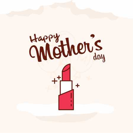 Happy Motherss Day Typographical Design Card With Red Background - For web design and application interface, also useful for infographics. Vector illustration.