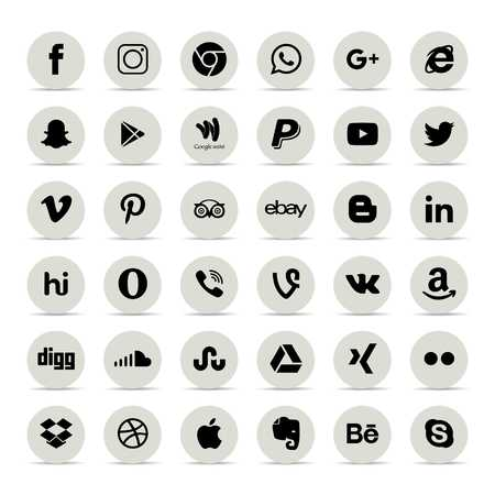 Popular social media icons such as: Facebook, Twitter, Blogger, Linkedin, Tumblr, Myspace and others, printed on white paper - For web design and application interface, also useful for infographics. Vector illustration.