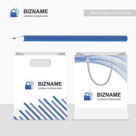 Company shopping bags design vector with creative design with lock logo - For web design and application interface, also useful for infographics. Vector illustration.