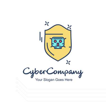 Cyber company sheild logo with white background and typography - For web design and application interface, also useful for infographics. Vector illustration. Illustration