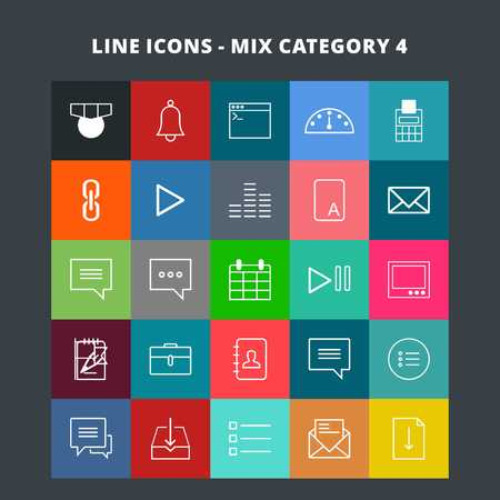 Line Mix Icons - For web design and application interface, also useful for infographics. Vector illustration. Illustration