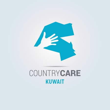 Illustration of an isolated hands offering sign with the map of Kuwait - For web design and application interface, also useful for infographics. Vector illustration. Çizim