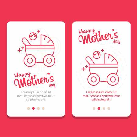 Mothers day greeting card with flowers background - For web design and application interface, also useful for infographics. Vector illustration.