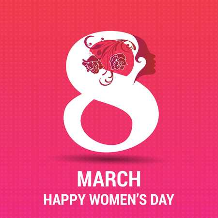 8 march Happy Womens day card with pattern background - For web design and application interface, also useful for infographics. Vector illustration. Ilustracja