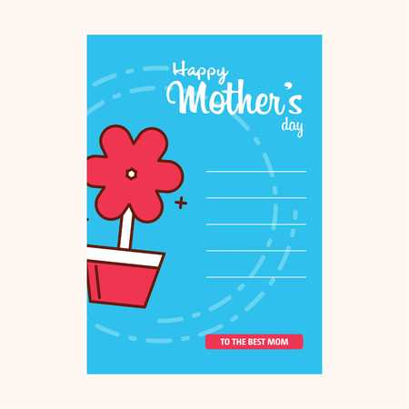 Happy Mothers's Day Typographical Design Card With Red Background - For web design and application interface, also useful for infographics. Vector illustration.