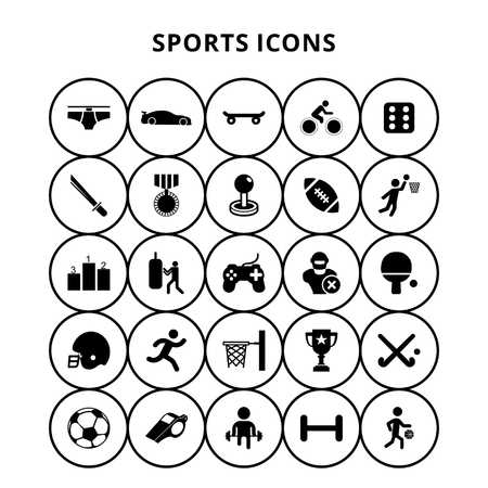 Sports Icons - For web design and application interface, also useful for infographics. Vector illustration. Çizim