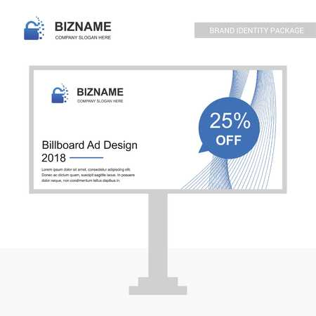 Company bill board design vector with lock logo - For web design and application interface, also useful for infographics. Vector illustration.