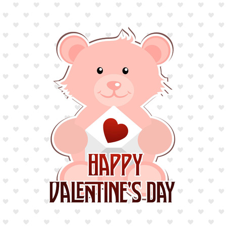 Happy Valentines day typographic with bear. For web design and application interface, also useful for infographics. Vector illustration. Illustration