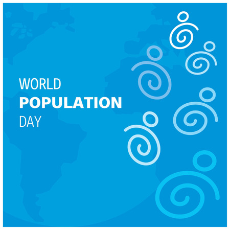 Vector illustration,banner or poster of world population day. Blue Globe Background.. For web design and application interface, also useful for infographics. Vector illustration.