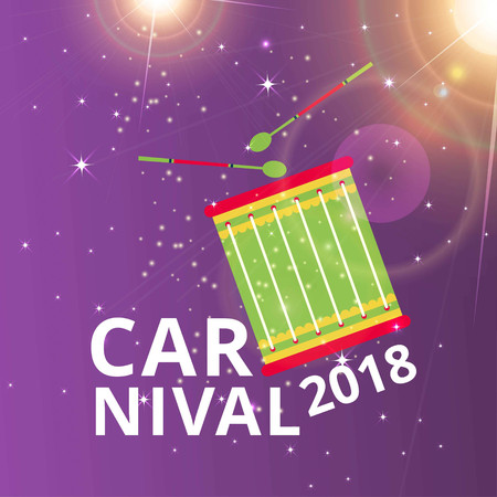 Happy Brazilian Carnival Day. carnival typography, drum on purple shiny background. For web design and application interface, also useful for infographics. Vector illustration.