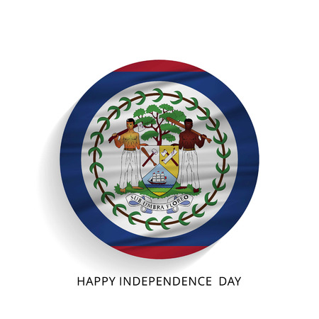 Belize Circle Flag with Lettering Happy Independence Day. For web design and application interface, also useful for infographics. Vector illustration.