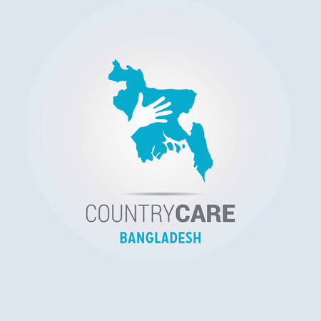 Illustration of an isolated hands offering sign with the map of Bangladesh. For web design and application interface, also useful for infographics. Vector illustration. Çizim