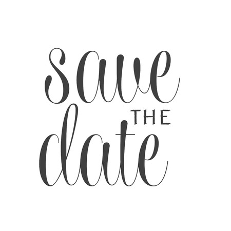 Save the date text calligraphy vector lettering for wedding or love card. For web design and application interface, also useful for infographics. Vector illustration.