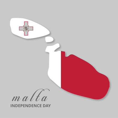Malta Country Map with Lettering INdependence Day background. For web design and application interface, also useful for infographics. Vector illustration. Vektoros illusztráció