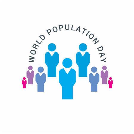 Vector illustration,banner or poster of world population day. Globe circled with people. People.  White Background.. For web design and application interface, also useful for infographics. Vector illustration.