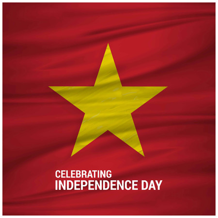 Vietnam Waving Flag Celebtraing Independence Day. For web design and application interface, also useful for infographics. Vector illustration. Çizim