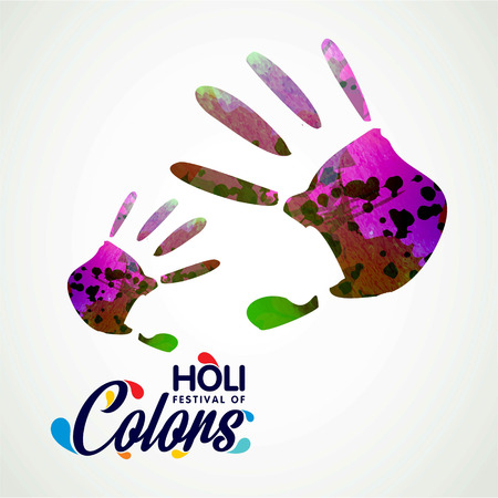 happy holi festival. white background having colorful handprints and creative typography. For web design and application interface, also useful for infographics. Vector illustration.