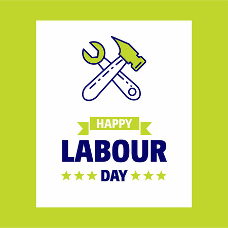 Happy Labour day design with green and blue theme vector with hardware logo vector. For web design and application interface, also useful for infographics. Vector illustration.