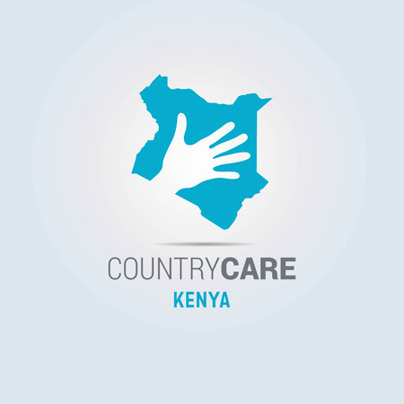 Illustration of an isolated hands offering sign with the map of Kenya. For web design and application interface, also useful for infographics. Vector illustration. 向量圖像