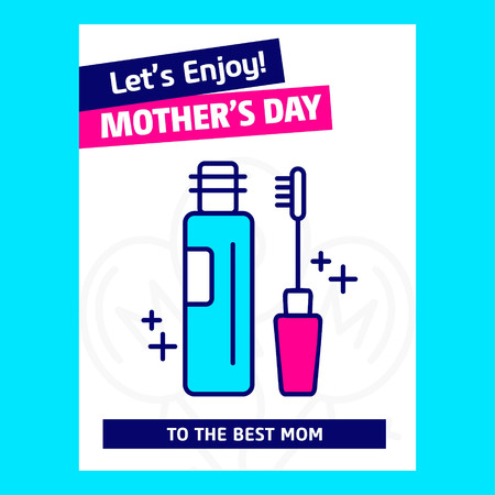 Mother's day card withblue theme and creative design vector. For web design and application interface, also useful for infographics. Vector illustration. Ilustração