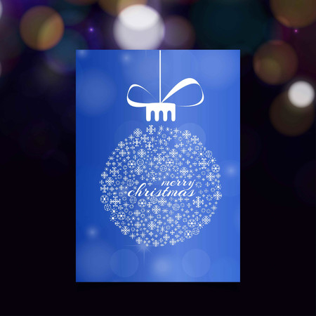 Christmas card with blue background and snow flakes balls. For web design and application interface, also useful for infographics. Vector illustration.