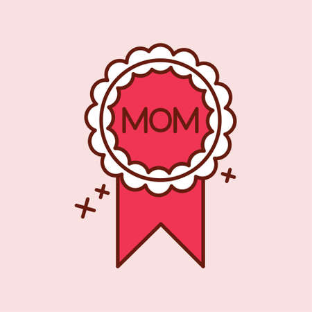 Mothers day red icon with light pink backgorund vector. For web design and application interface, also useful for infographics. Vector illustration.