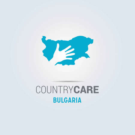 Illustration of an isolated hands offering sign with the map of Bulgaria. For web design and application interface, also useful for infographics. Vector illustration.