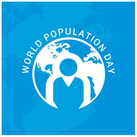 Vector illustration,banner or poster of world population day. Globe circled with people. People. Blue Background.. For web design and application interface, also useful for infographics. Vector illustration. Stock Illustratie