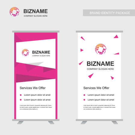 Company ads banner unique design with world map logo. For web design and application interface, also useful for infographics. Vector illustration. Illustration