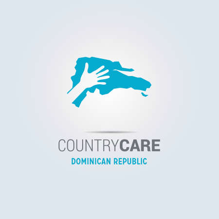 Illustration of an isolated hands offering sign with the map of Dominican Republic. For web design and application interface, also useful for infographics. Vector illustration.