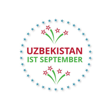 Uzbekistan 1st September Happy Independence Day Label on white background. For web design and application interface, also useful for infographics. Vector illustration.