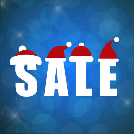 Christmas sale with blue background. For web design and application interface, also useful for infographics. Vector illustration.