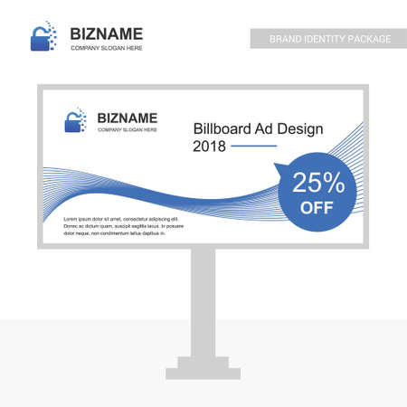 Company bill board design vector with lock logo. For web design and application interface, also useful for infographics. Vector illustration.