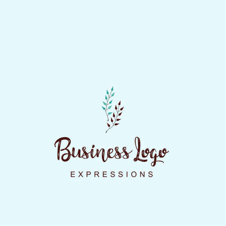Plant stem logo with typography and light background vector. For web design and application interface, also useful for infographics. Vector illustration.