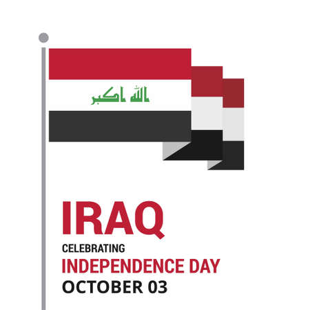 Republic of Iraq Independence Day Patriotic Design. Happy Independence Day Republic of Iraq Vector Greeting Card.. For web design and application interface, also useful for infographics. Vector illustration. Stock Illustratie