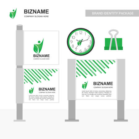 Company advertisment banner with clock  and clip vector with nature logo. For web design and application interface, also useful for infographics. Vector illustration.