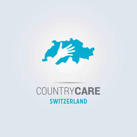 Illustration of an isolated hands offering sign with the map of Switzerland. For web design and application interface, also useful for infographics. Vector illustration.