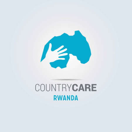 Illustration of an isolated hands offering sign with the map of Rwanda. For web design and application interface, also useful for infographics. Vector illustration.