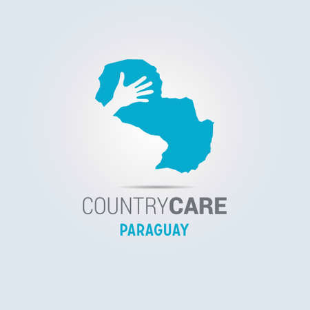 Illustration of an isolated hands offering sign with the map of Paraguay. For web design and application interface, also useful for infographics. Vector illustration. 向量圖像