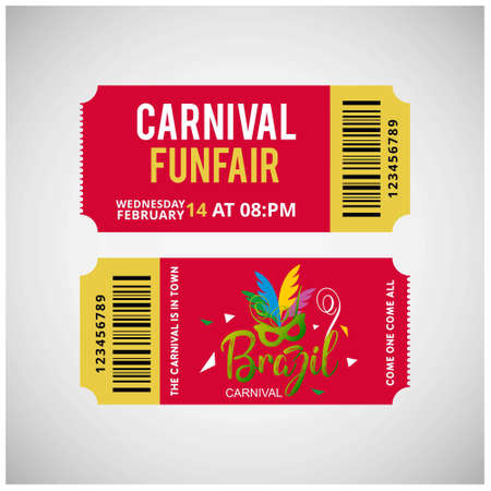 Happy Brazilian Carnival Day. Green and White carnival show tickets on grey background. For web design and application interface, also useful for infographics. Vector illustration.